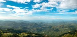 Stunning View of the Mountain Ridges On a Sunny and Cloudy Day From Haputale, Sri Lanka