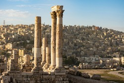 Stunning view of the old ruins in the Amman Citadel, Jordan. The Amman Citadel is a historical site at the center of downtown Amman, Jordan