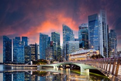 Stunning view of the Singapore's skyline illuminated at sunset during the Covid-19 pandemic. Singapore is a sovereign island city-state in maritime Southeast Asia.