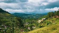 Stunning View of the Village in the Mountains Surrounded by Terraces and Tea Plantations in Sri Lanka, Near Haputale