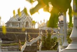 Stunning view of the Wat Kaew Ko Wararam or simply Wat Kaew during a beautiful sunset. Wat Kaew Korawaram is a Buddhist temple in the city of Krabi, Thailand.