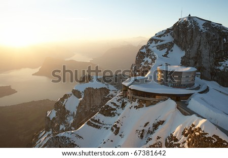 Stunning view onto Lake Lucerne, seen from the peak of Mount Pilatus at sunrise (Switzerland). - stock photo