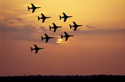 Stunt patrol at sunset.