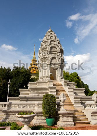 Stupa in Royal Palace in Phnom Penh Cambodia