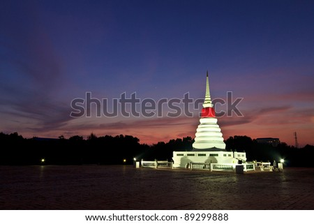 Stupa on island and on riverside in thailand