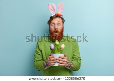 Stupefied bearded adult man wears bunny long ears on head, carries Easter symbols, opens mouth from wonder, holds pot with colored eggs, wears green sweater, poses indoor. Spring time concept #1338586370