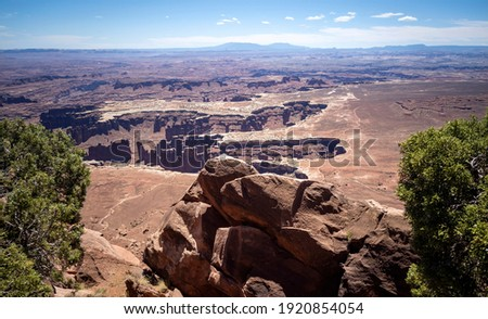 Stupendous views of Canyonlands National Park from Dead Horse Point State Park in Utah on a partly cloudy day Stock photo ©