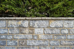 Sturdy blue and gray cut stone wall, good for backgrounds, seamless lined up, pine trees on the wall