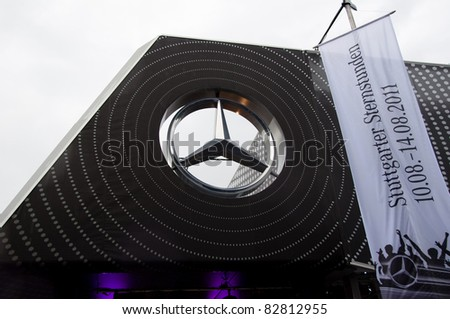 "STUTTGART - AUGUST 14 : Mercedes-Benz logo at event ""Sternstunden - 125 years Mercedes-Benz"" on August 14, 2011 in Stuttgart, Germany"