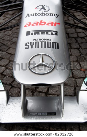 "STUTTGART - AUGUST 14 : Mercedes-Benz presenting a Formula 1 race car at event ""Sternstunden - 125 years Mercedes-Benz"" on August 14, 2011 in Stuttgart, Germany"
