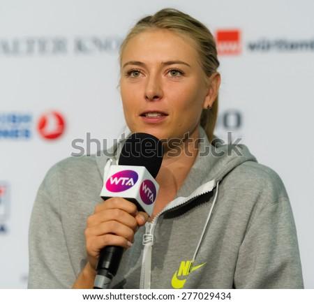 STUTTGART, GERMANY - APRIL 20 : Maria Sharapova talks to the media at the 2015 Porsche Tennis Grand Prix WTA Premier tennis tournament