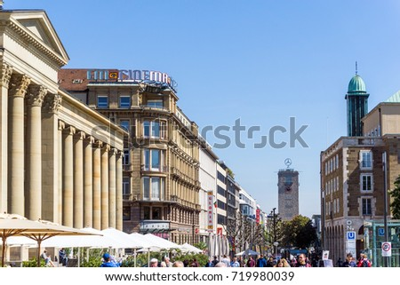 STUTTGART, GERMANY - April 12, 2017 : Tourists foot Street in Stuttgart, its metropolitan area are consistently ranked among the top 20 European metropolitan areas by GDP. #719980039