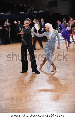 Stuttgart, Germany - August 16,2014: An unidentified dance latin couple in a dance pose during Grand Slam Latin at German Open Championship, on August 16, in Stuttgart, Germany