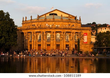 STUTTGART, GERMANY - JULY 25: More than 5.000 people are watching the public viewing of the premiere of Mozars opera Don Giovanni on a large screen in front of the Opera building in Stuttgart.