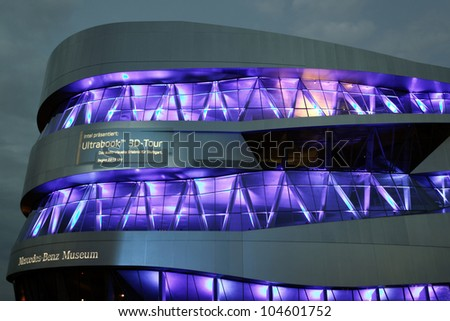 "STUTTGART, GERMANY - JUNE 2: Light Show at the Mercedes Benz Museum-Building at the festival ""Intel Ultrabook 3D Tour "" June 2, 2012 in Stuttgart, Germany"