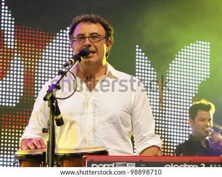 STUTTGART, GERMANY - MARCH 24: Keyboardist Christian Fleps of the group Marquess live in concert on stage at the festival March 24, 2012 in Stuttgart, Germany