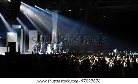 STUTTGART, GERMANY - MARCH 7: Members of the Hip-Hop group  DEICHKIND live in concert on stage at the festival March 7, 2012 in Stuttgart, Germany