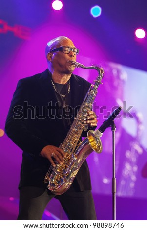 """STUTTGART, GERMANY - MARCH 24:  Saxophonist of the group """"Chubby Checker"""" live in concert on stage at the festival March 24, 2012 in Stuttgart, Germany"""