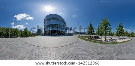 "STUTTGART, GERMANY - MAY 19: Panorama of the museum ""Mercedes-Benz Welt"" on May 19, 2009 in Stuttgart, Germany. The museum hosts several special exhibitions each year."