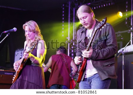"STUTTGART - JULY 05: Group ""Tedeschi Trucks Band"" in concert at Jazzopen Stuttgart July 05, 2011 in Stuttgart, Germany"