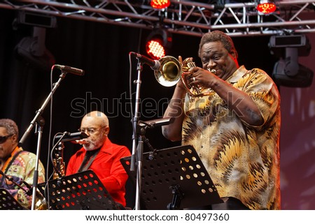 "STUTTGART-JULY 01: Musicians from the ""B.B. King Band"" in concert at Jazzopen Stuttgart July 01, 2011 in Stuttgart, Germany"