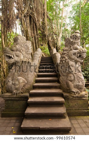 Stutue in Sacred Monkey Forest, Ubud, Bali, Indonesia - stock photo