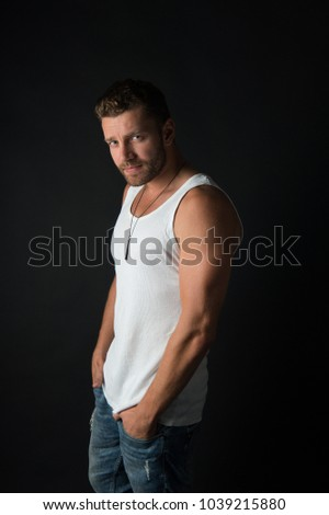 Style and look, barber. Fashion and beauty. Fashion model on grey background. Handsome mucho guy in vest. Man with unshaven face in studio. #1039215880