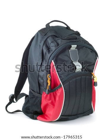 Style black with red colored backpack isolated over white background