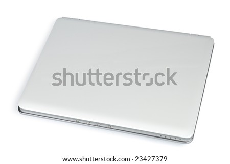 Style compact white laptop isolated with clipping path over white