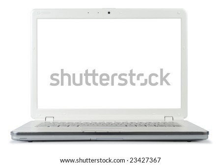 Style compact white laptop isolated with clipping path over white background