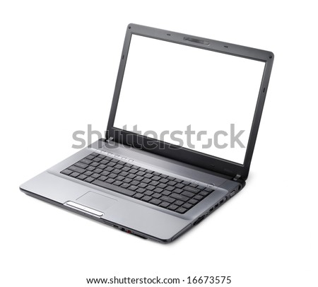 Style laptop isolated with clipping path over white background