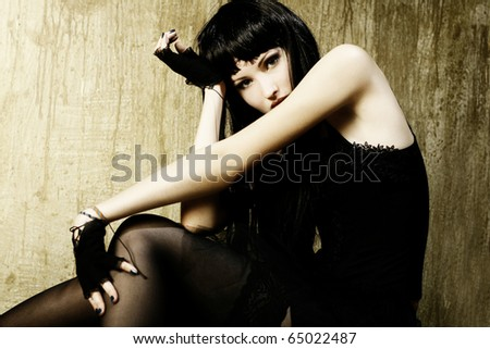 Style photo of a pretty young  woman
