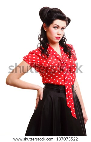 style Sexy Patriotic American Girl pin-up retro woman isolated