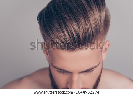 Style stylish therapy treatment problem concept. Cropped top above close up view photo of clean clear shiny with gel wax lotion perfect ideal groomed neat hair isolated on gray background