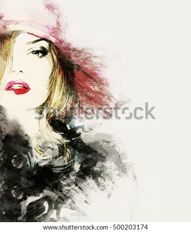 Style woman portrait. Abstract fashion watercolor illustration
