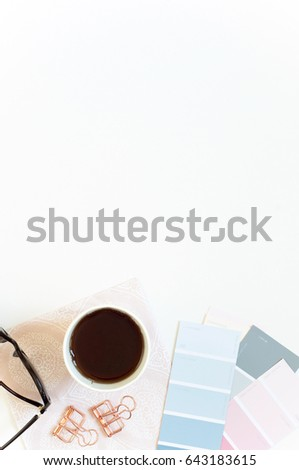 Styled Desktop Mockup flat lay stock photography, white background, copy space, great for lifestyle bloggers and small businesses