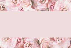 Styled feminine flat lay on pale pastel pink background of roses , top view. Minimal woman's desktop with blank page mock up, open envelope and pink flower, Creative concept, empty greeting card