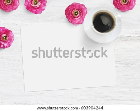 Styled stock photo. Feminine product mockup with buttercup flowers, Ranunculus, blank list of paper, cup of coffee and shabby white background. Flat lay, top view. Picture for blog or social media.