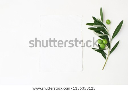 Styled stock photo. Feminine wedding desktop mockup scene with green olive branch and white empty vertical paper card. Foliage composition on white table background. Top view. Flat lay picture.