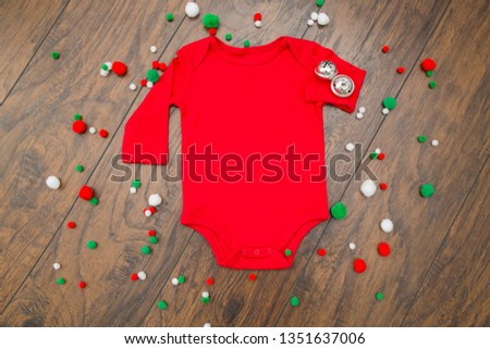 Styled Stock Photography red baby bodysuit, christmas mock up #1351637006