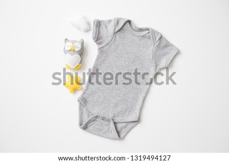 """Styled Stock Photography """"Twinkle Twinkle"""", Mockup-Digital File, Gray Baby Bodysuit with Owl Decor, Gender Neutral Mock Up #1319494127"""