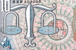 Stylised scales of justice. Sailing ships. Earth globe. Portrait from  Netherlands 10 Gulden 1953 Banknotes.