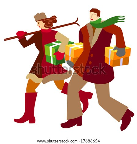 Stylised vector illustration of a purchasing couple.