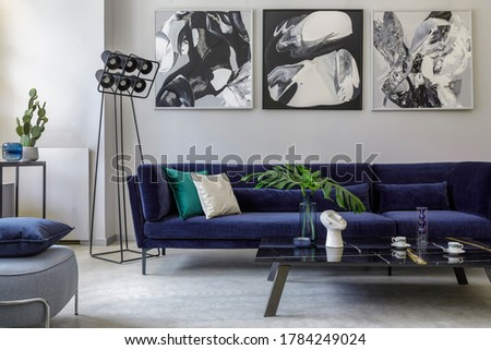 Stylish and modern living room interior with blue velvet sofa, mock up paintings, design furniture, plant, table, decoration, concrete floor, elegant personal accessories in home decor. Foto stock ©