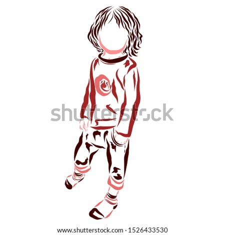 stylish baby in stylish clothes, colorful silhouette