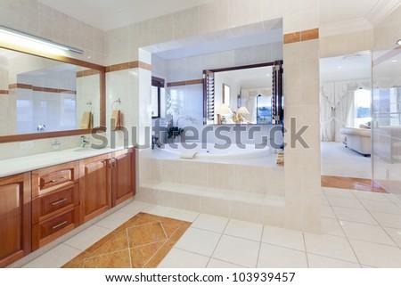 Stylish bathroom in luxury house