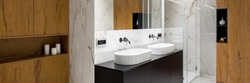 Stylish bathroom interior in wood and marble with two basins and big shower, panorama
