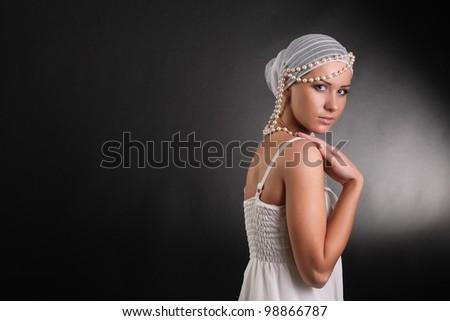 stylish, beautiful brunette - stock photo