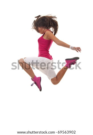 stylish beautiful dancer posing on white background