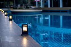 Stylish beautiful lighting walkways next to the pool